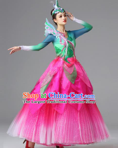 Traditional Chinese Opening Dance Pink Dress Modern Dance Lotus Dance Stage Performance Costume for Women