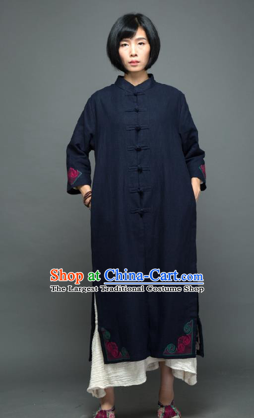 Traditional Chinese Overcoat Dress National Costume Tang Suit Embroidered Navy Dust Coat for Women