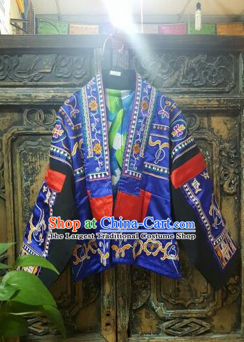 Traditional Chinese Embroidered Blue Short Overcoat Dress National Costume Tang Suit Upper Outer Garment for Women