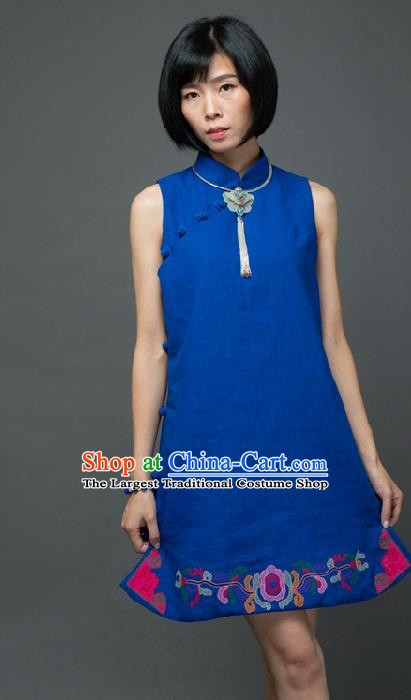 Traditional Chinese Blue Flax Qipao Dress National Costume Tang Suit Plated Buttons Cheongsam Garment for Women
