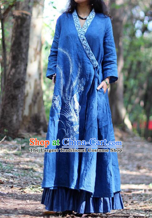 Traditional Chinese Hand Painting Phoenix Blue Coat National Costume Tang Suit Batik Garment Slant Opening Overcoat for Women