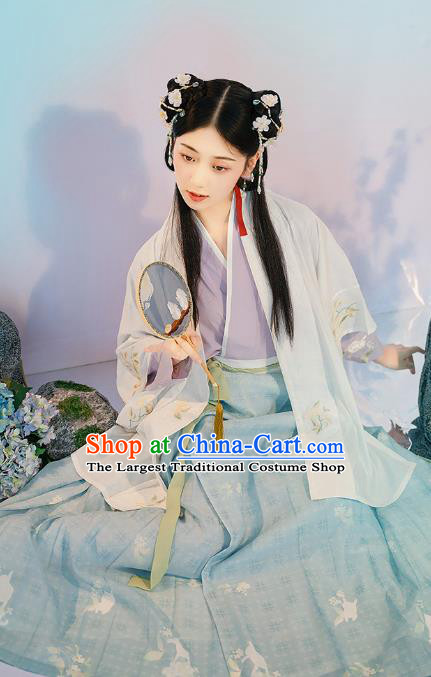 Traditional Chinese Song Dynasty Village Girl Hanfu Dress Apparels Ancient Young Lady Historical Costumes BeiZi Blouse and Skirt Full Set