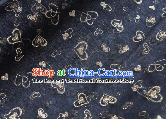 Chinese Traditional Heart Shape Pattern Design Black Veil Fabric Grenadine Cloth Asian Gauze Material