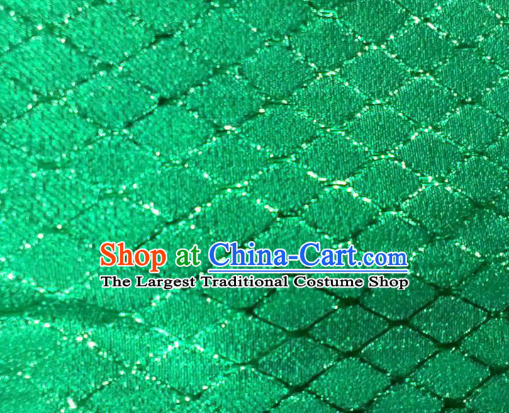 Chinese Traditional Argyle Pattern Design Green Brocade Fabric Tapestry Cloth Asian Silk Satin Material
