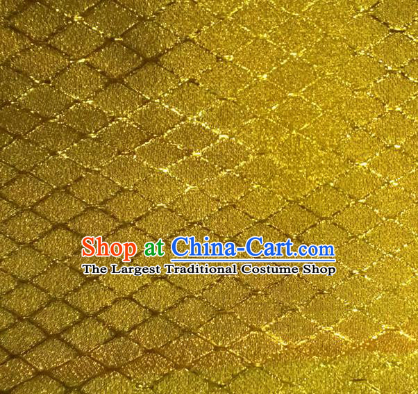 Chinese Traditional Argyle Pattern Design Golden Brocade Fabric Tapestry Cloth Asian Silk Satin Material