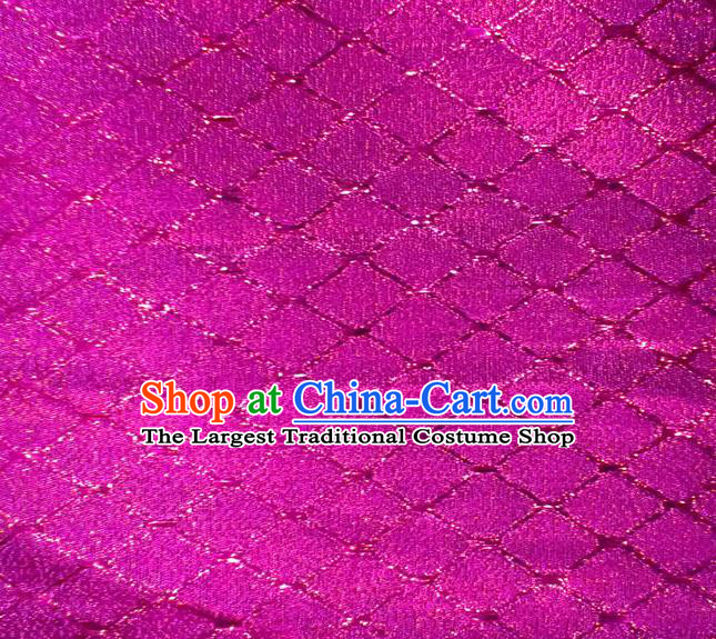 Chinese Traditional Argyle Pattern Design Rosy Brocade Fabric Tapestry Cloth Asian Silk Satin Material