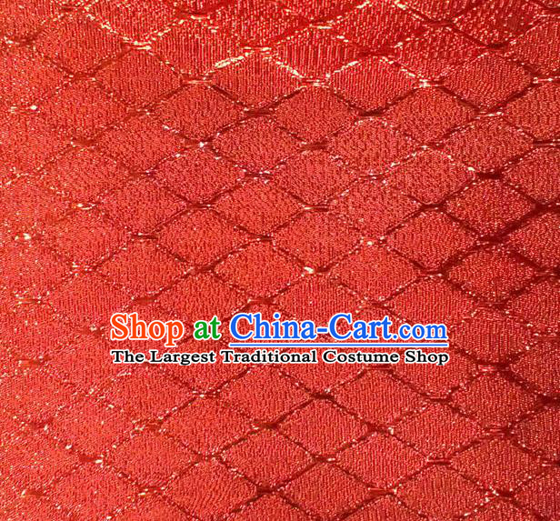 Chinese Traditional Argyle Pattern Design Red Brocade Fabric Tapestry Cloth Asian Silk Satin Material