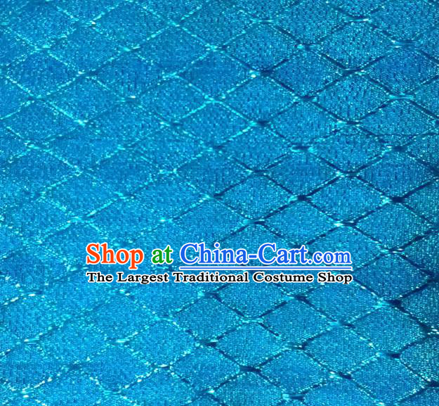 Chinese Traditional Argyle Pattern Design Blue Brocade Fabric Tapestry Cloth Asian Silk Satin Material