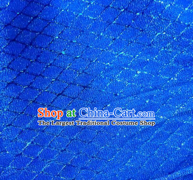 Chinese Traditional Argyle Pattern Design Royalblue Brocade Fabric Tapestry Cloth Asian Silk Satin Material