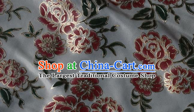 Chinese Traditional Printing Roses Pattern Design White Brocade Fabric Tapestry Cloth Asian Silk Satin Material