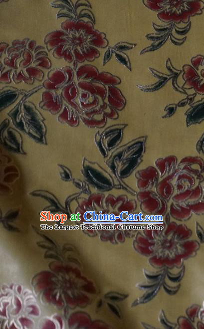 Chinese Traditional Printing Roses Pattern Design Beige Brocade Fabric Tapestry Cloth Asian Silk Satin Material