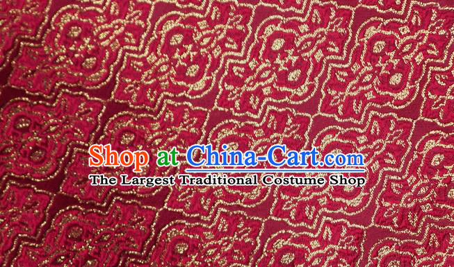 Chinese Traditional Jacquard Pattern Design Wine Red Satin Brocade Fabric Tapestry Cloth Asian Silk Material