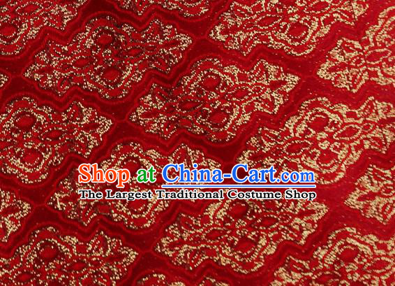 Chinese Traditional Jacquard Pattern Design Red Satin Brocade Fabric Tapestry Cloth Asian Silk Material