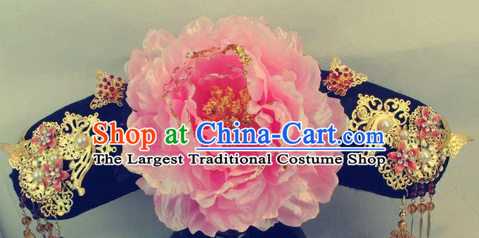 Chinese Traditional Qing Dynasty Princess Headwear Drama Ancient Manchu Lady Qing Er Flag Bun Hair Accessories