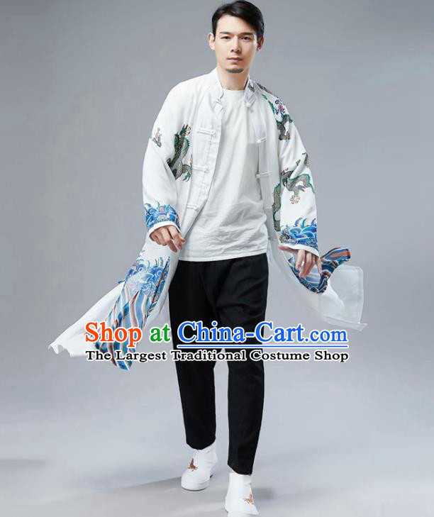 Chinese National Printing Dragon White Chiffon Coat Traditional Tang Suit Outer Garment Overcoat Costume for Men