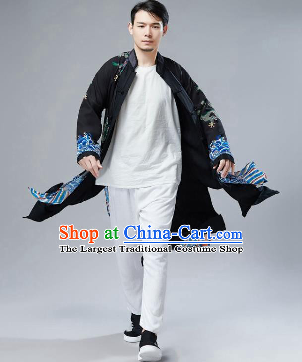 Chinese National Printing Dragon Black Chiffon Coat Traditional Tang Suit Outer Garment Overcoat Costume for Men