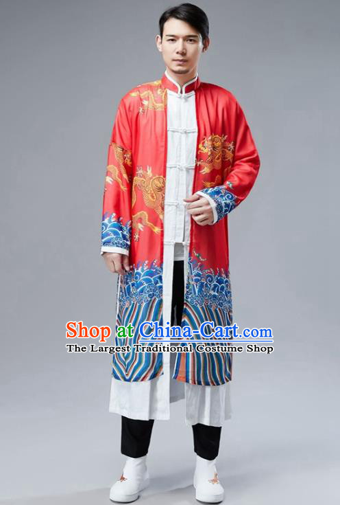 Chinese National Printing Dragon Red Chiffon Coat Traditional Tang Suit Outer Garment Overcoat Costume for Men
