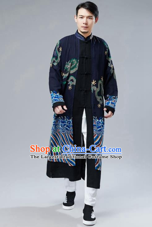 Chinese National Printing Dragon Navy Chiffon Coat Traditional Tang Suit Outer Garment Overcoat Costume for Men