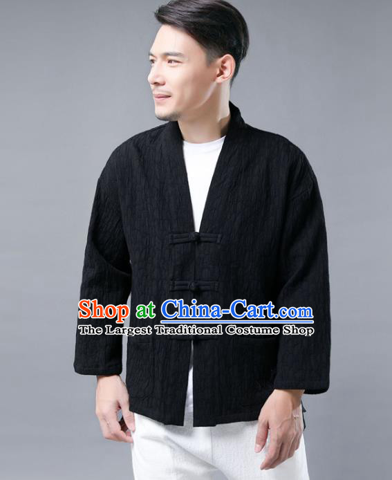 Chinese National Black Flax Jacket Traditional Tang Suit Outer Garment Overcoat Costume Coat for Men