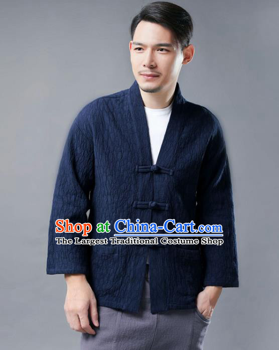 Chinese National Navy Flax Jacket Traditional Tang Suit Outer Garment Overcoat Costume Coat for Men