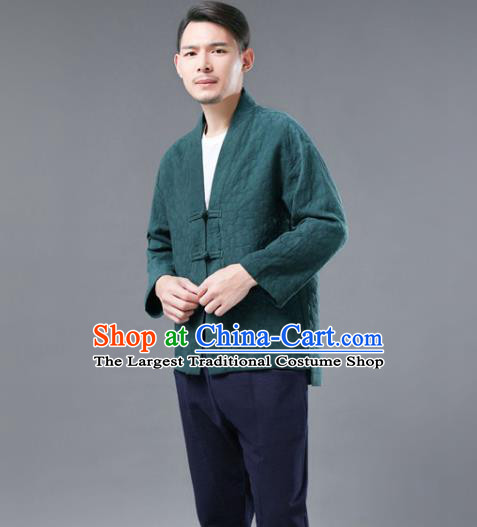 Chinese National Green Flax Jacket Traditional Tang Suit Outer Garment Overcoat Costume Coat for Men
