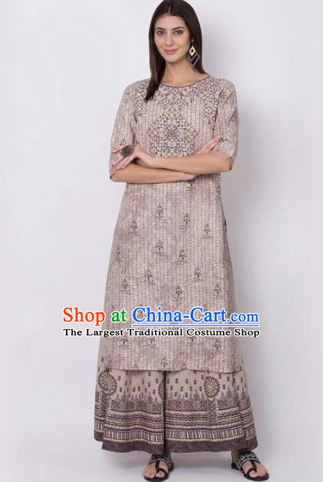 Asian India National Light Brown Long Shirt Costumes Asia Indian Traditional Printing Cotton Blouse for Women