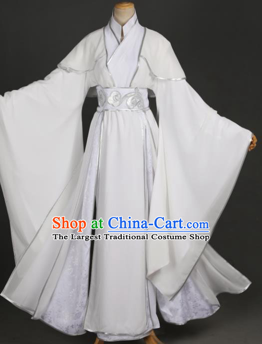 Traditional Chinese Cosplay Prince Xie Lian Costume Ancient Chivalrous Knight Garment Swordsman White Clothing for Men
