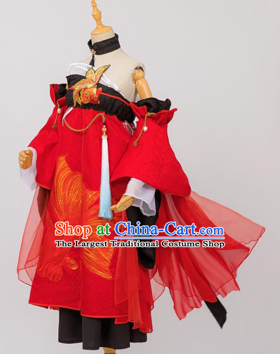 Traditional Chinese Cosplay Young Lady Hanfu Dress Costumes Ancient Fairy Clothing and Hair Accessories for Women