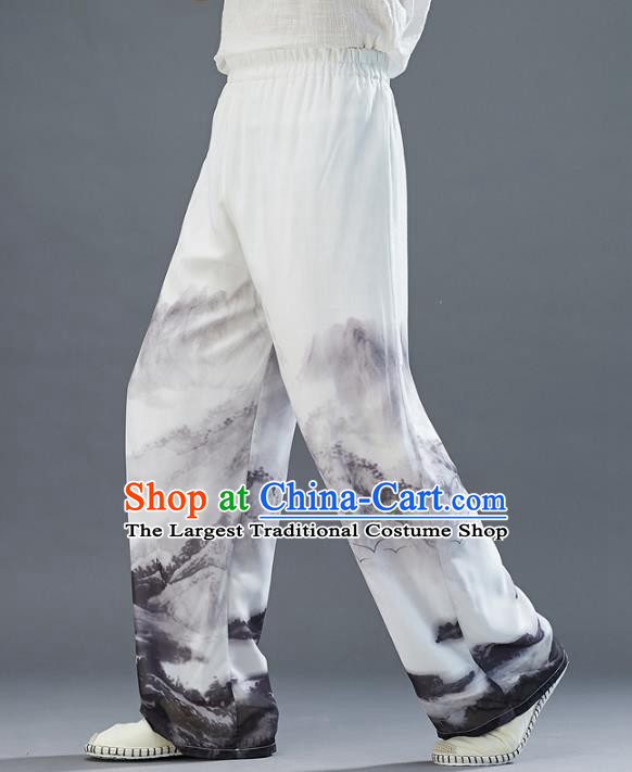 Chinese National Printing White Chiffon Pants Traditional Tang Suit Costume Loose Trousers for Men