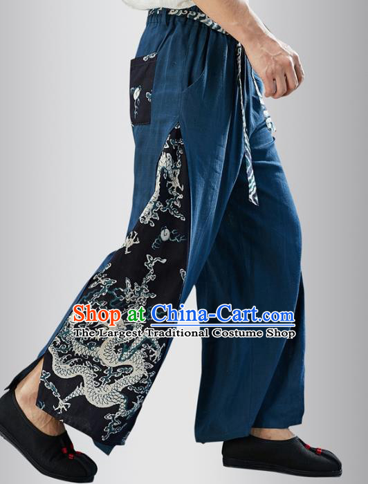 Chinese National Navy Flax Pants Traditional Tang Suit Costume Printing Dragon Linen Loose Trousers for Men