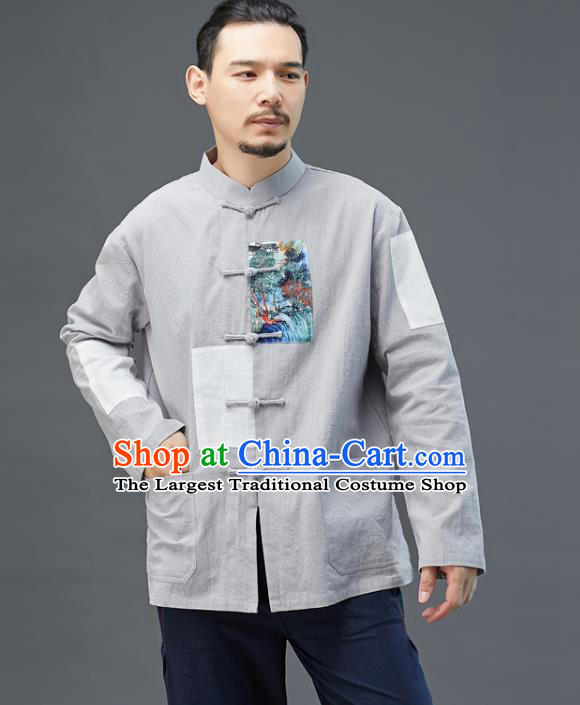 Chinese National Men Grey Linen Shirt Traditional Tang Suit Costume Upper Outer Garment Overshirt