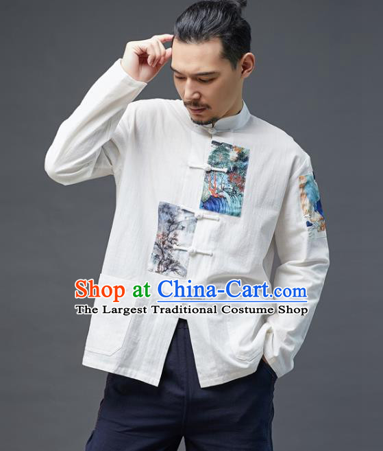 Chinese National Men Linen Shirt Traditional Tang Suit Costume Upper Outer Garment Overshirt