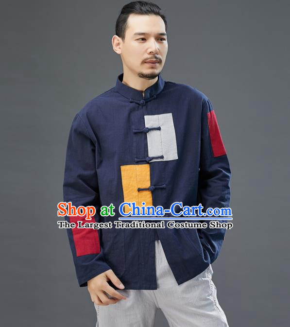 Chinese National Men Navy Linen Shirt Traditional Tang Suit Costume Upper Outer Garment Overshirt