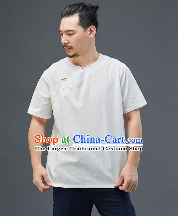 Chinese National White Linen Short Sleeve Shirt Traditional Tang Suit Upper Outer Garment Costume for Men