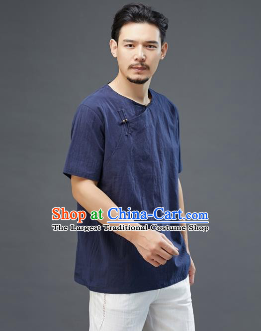 Chinese National Navy Linen Short Sleeve Shirt Traditional Tang Suit Upper Outer Garment Costume for Men