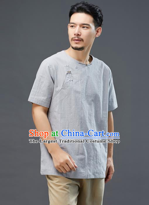 Chinese National Grey Linen Short Sleeve Shirt Traditional Tang Suit Upper Outer Garment Costume for Men