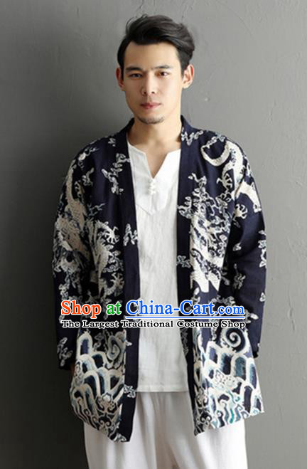 Chinese National Printing Dragon Navy Flax Cardigan Traditional Tang Suit Outer Garment Jacket Costume for Men