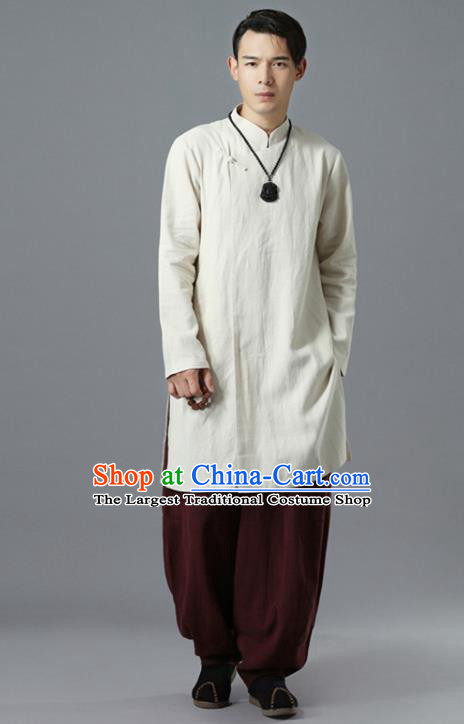 Chinese National White Flax Coat Traditional Tang Suit Outer Garment Overcoat Costume for Men
