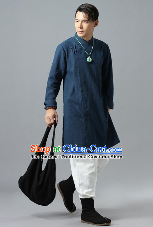 Chinese National Navy Flax Coat Traditional Tang Suit Outer Garment Overcoat Costume for Men