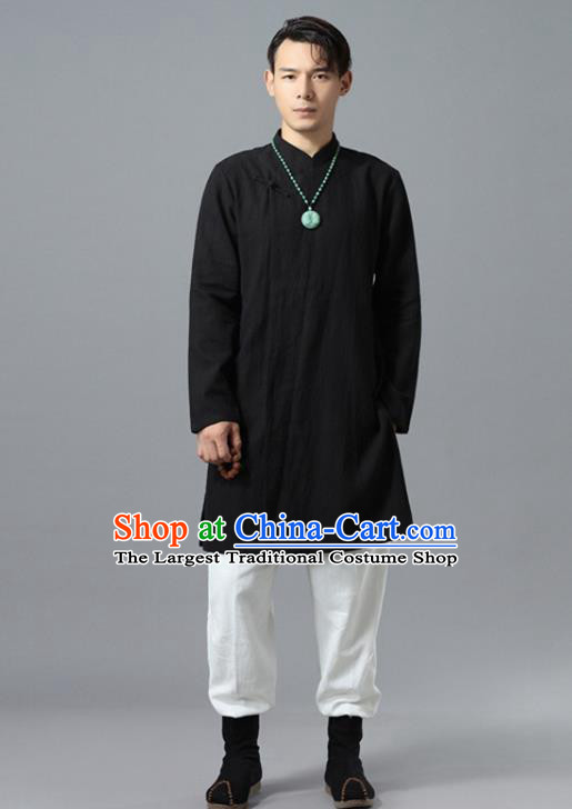 Chinese National Black Flax Coat Traditional Tang Suit Outer Garment Overcoat Costume for Men