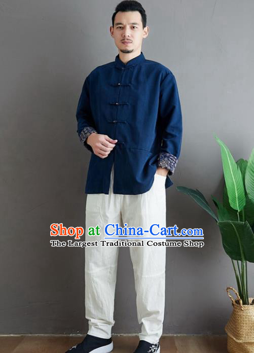 Chinese National Navy Linen Coat Traditional Tang Suit Upper Outer Garment Jacket Costume for Men