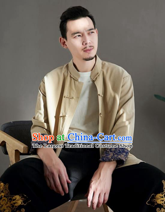 Chinese National Beige Linen Coat Traditional Tang Suit Upper Outer Garment Jacket Costume for Men