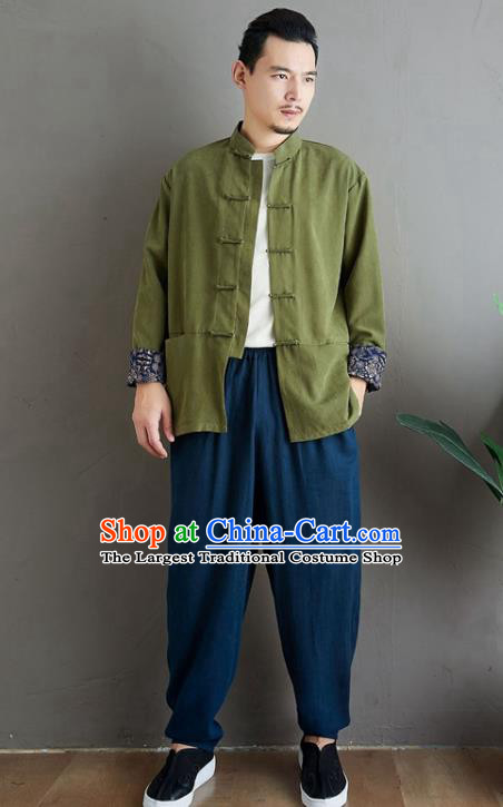 Chinese National Olive Green Linen Coat Traditional Tang Suit Upper Outer Garment Jacket Costume for Men