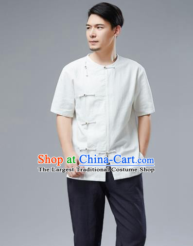 Chinese National White Linen Shirt Traditional Tang Suit Upper Outer Garment Short Sleeve Costume for Men
