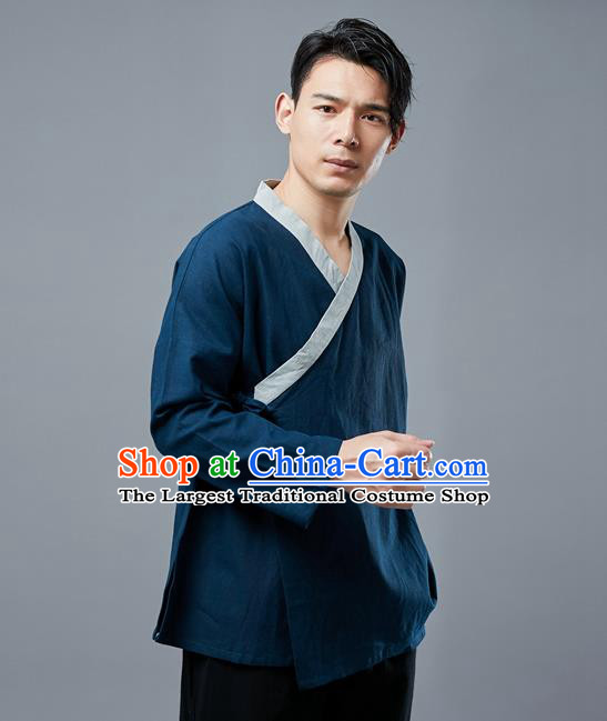 Chinese National Navy Linen Shirt Traditional Tang Suit Upper Outer Garment Slant Opening Costume for Men