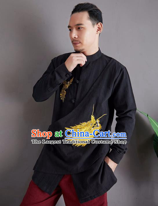 Chinese National Embroidered Black Shirt Traditional Tang Suit Upper Outer Garment Flax Costume for Men