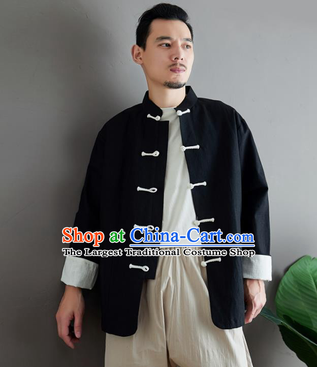 Chinese National Sun Yat Sen Black Flax Jacket Traditional Tang Suit Outer Garment Coat Costume for Men