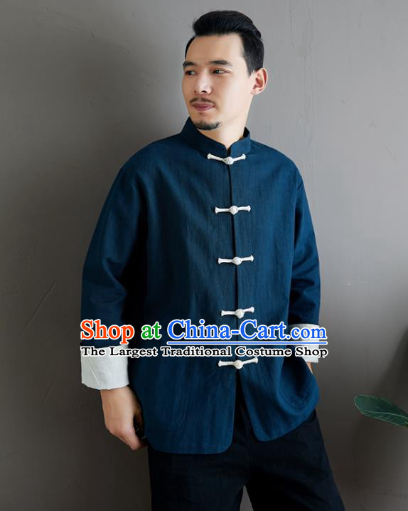 Chinese National Sun Yat Sen Blue Flax Jacket Traditional Tang Suit Outer Garment Coat Costume for Men