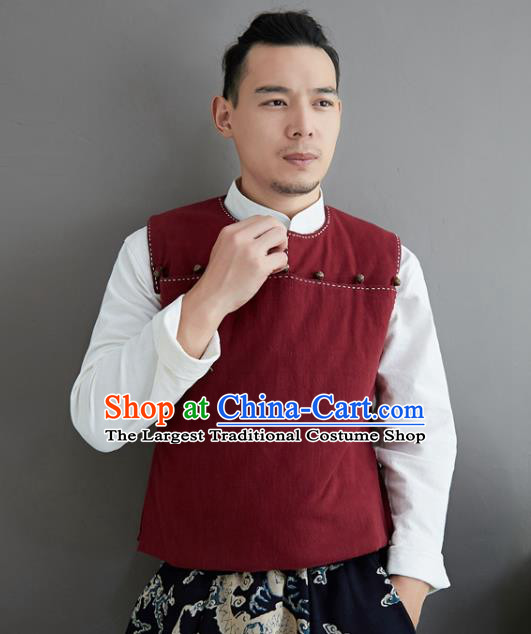 Chinese National Red Ramine Vest Traditional Tang Suit Upper Outer Garment Waistcoat Costume for Men
