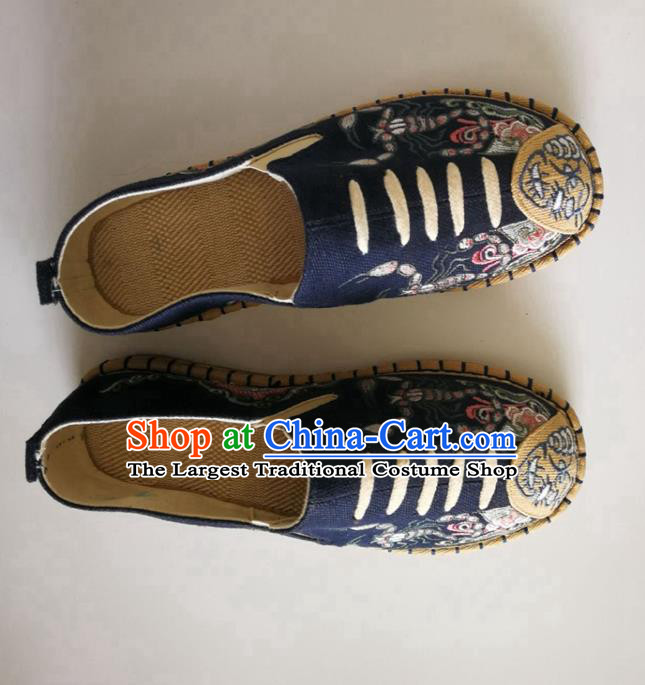 Chinese Traditional National Embroidered Navy Flax Shoes Martial Arts Shoes Men Shoes Handmade Shoes